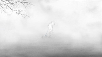 A White Dog Over The Fog